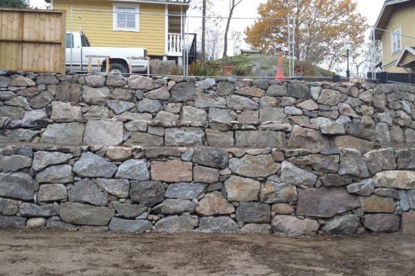 A stone wall near a dirt road