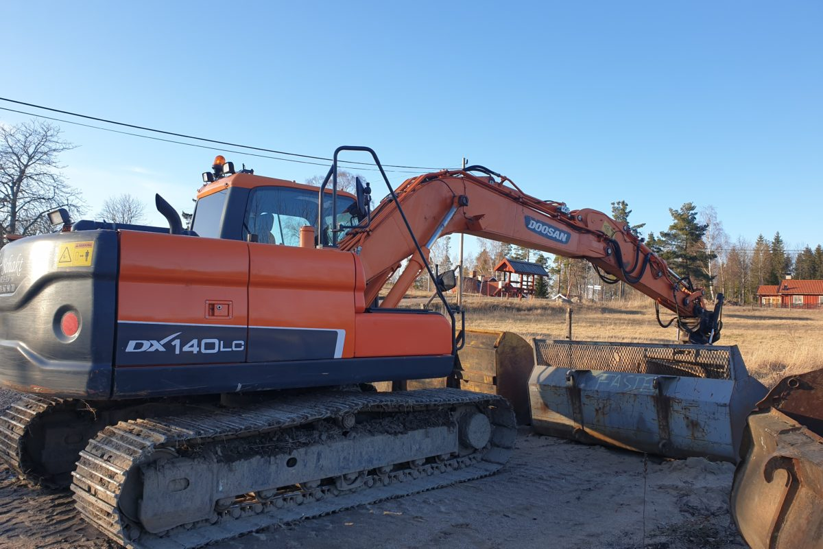 A backhoe in action